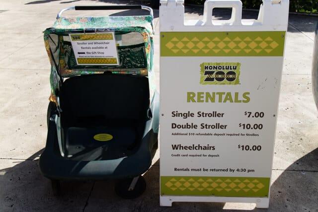 ホノルル動物園ベビーカー料金