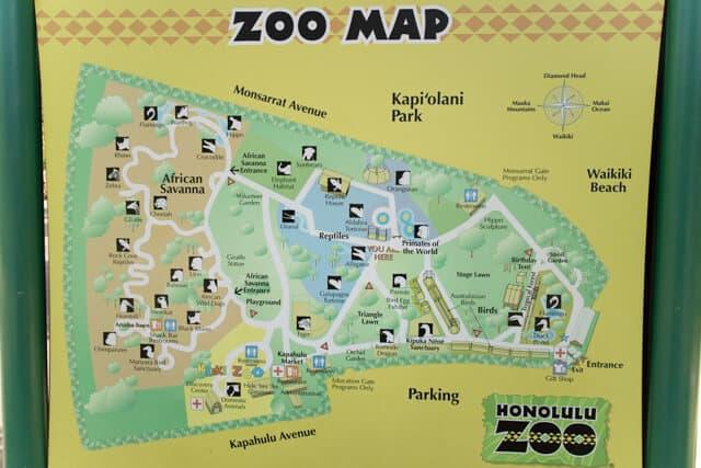 ホノルル動物園園内図