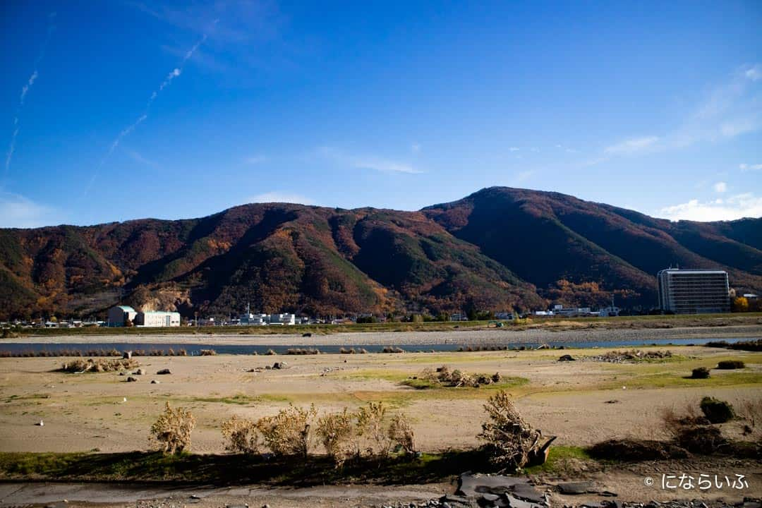 戸倉上山田温泉から千曲川の眺め
