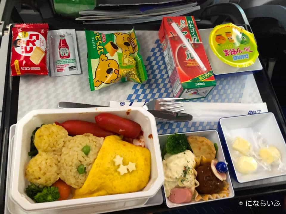 ANAA380型機の機内食(ホノルル行き子ども)