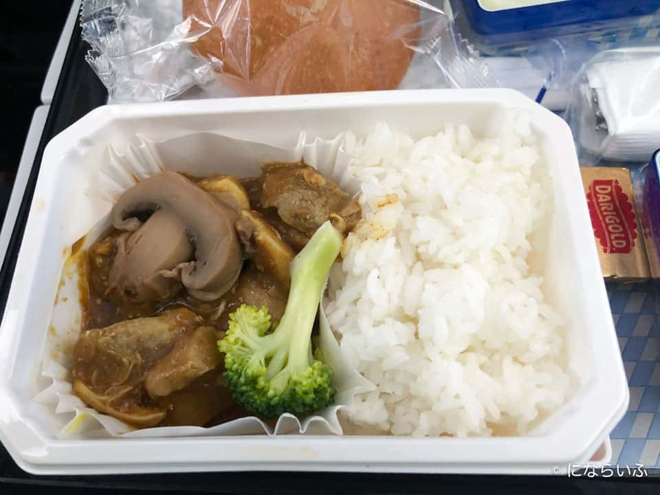 ANAA380型機の機内食カレー(成田行き大人)