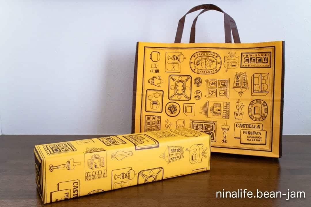 福砂屋のカステラの箱と紙袋
